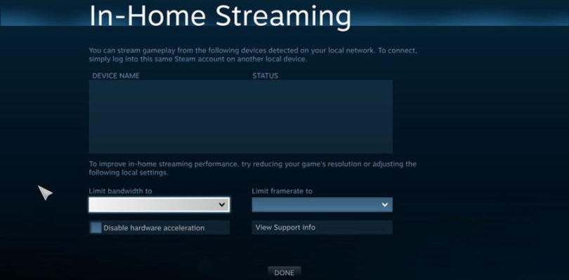 Pantallazo del streaming 'in-house'.