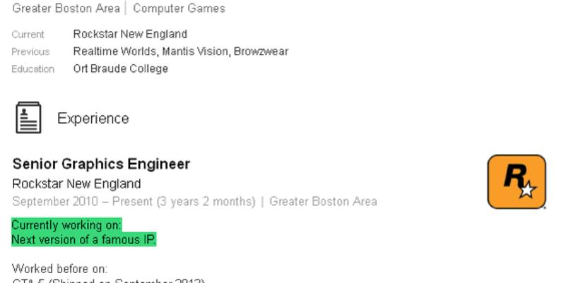 CV del ingeniero gráfico de Rockstar.